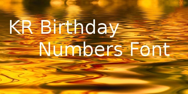 KR Birthday Numbers Font