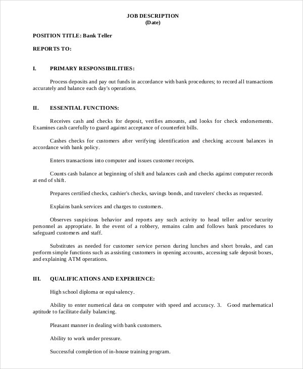Bank Teller Job Description In PDF  Bank Teller Job Description