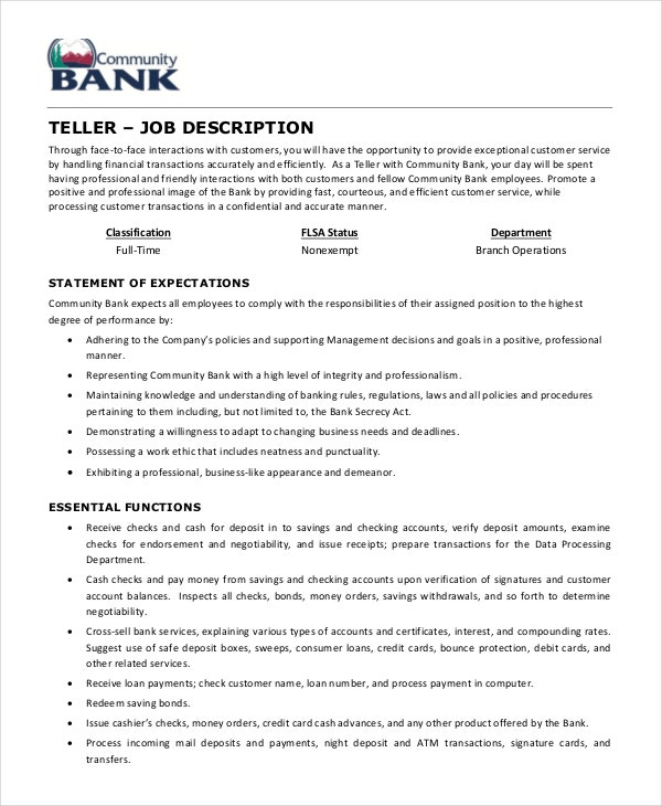 Teller Job Description Example 5 Free PDF Documents Download – Bank Teller Job Description