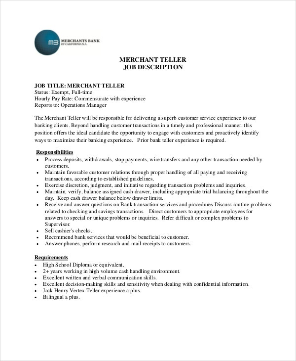 Teller Job Description Example   Free Pdf Documents Download