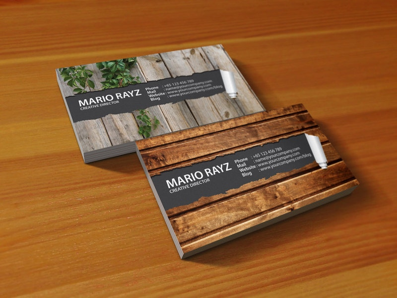 20 wooden business card designs free premium templates simple wooden business card wajeb Gallery