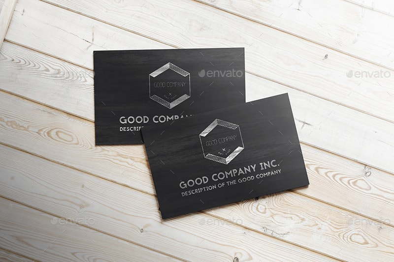 Presentation of Wooden Business Card Mockup