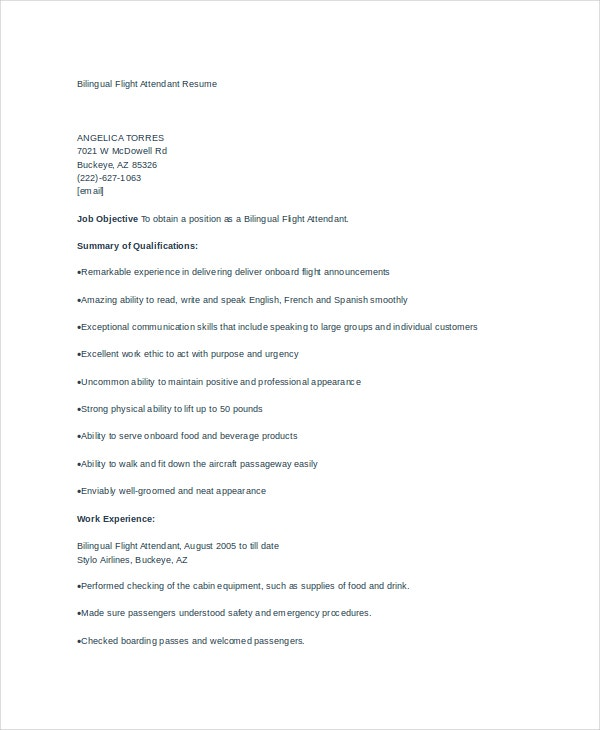 bilingual flight attendant resume example - Flight Attendant Resume Template