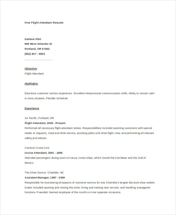 free flight attendant resume in word