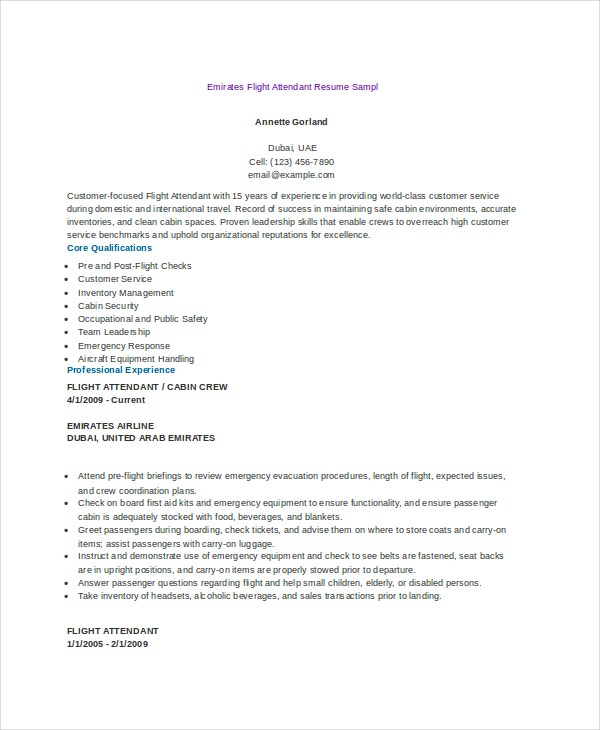 Emirates Flight Attendant Resume Format  Flight Attendant Resume Template