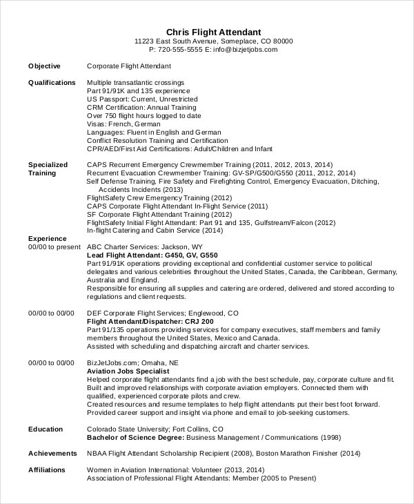 professional flight attendant resume template