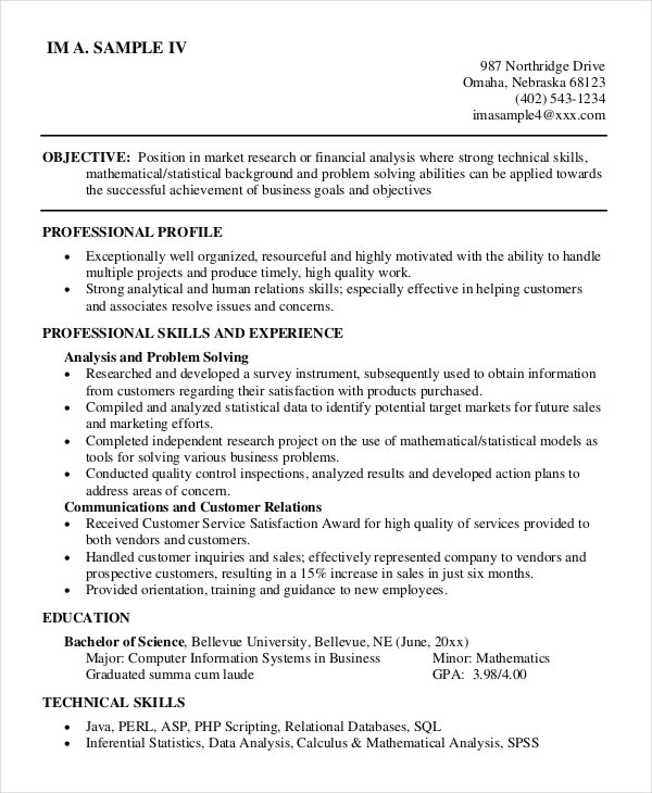associate analyst sample resume resume cv cover letter