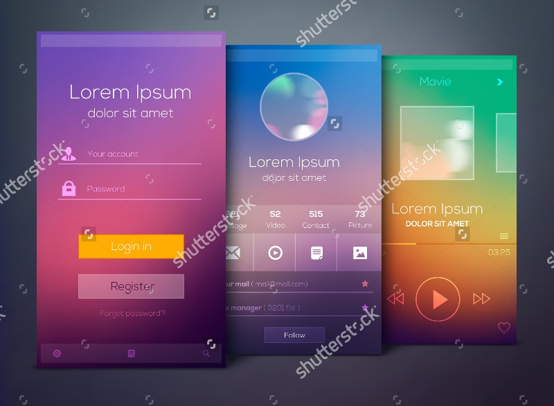Mobile Application Screen Mockup