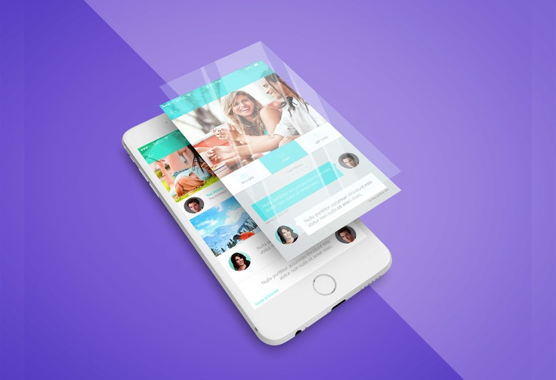 free iphone app screen psd mockup