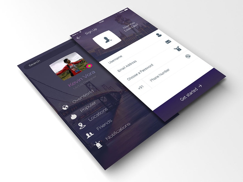 awesome login and profile app mock up for free