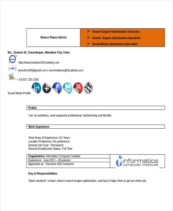 professional seo executive resume