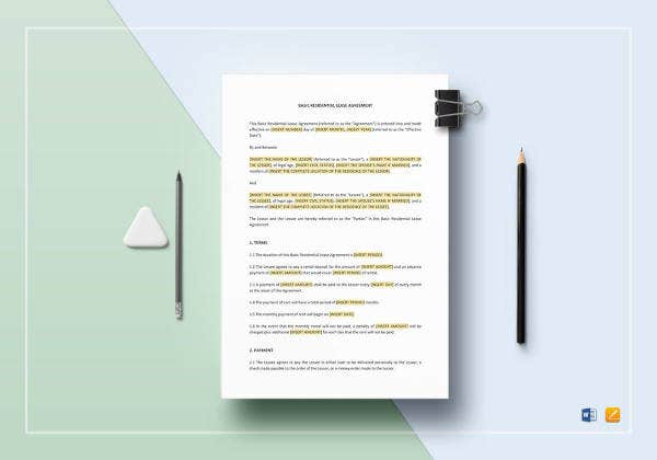 basic residential lease agreement template
