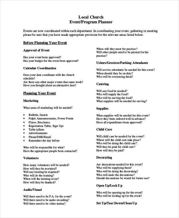 church event program planner