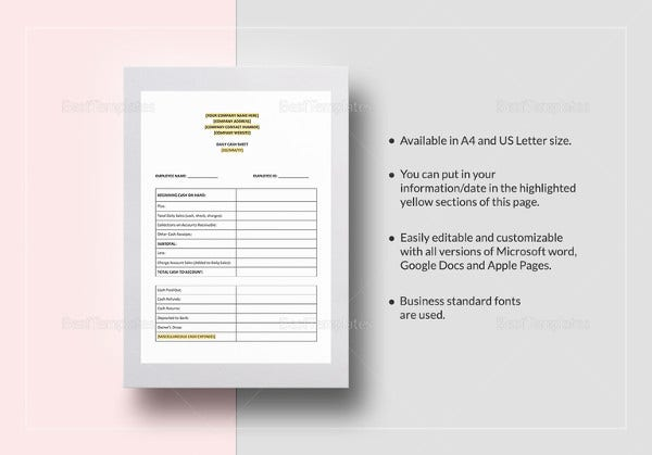 daily cash sheet template ms word