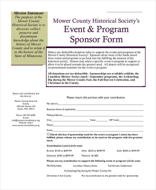 event program sponsor form
