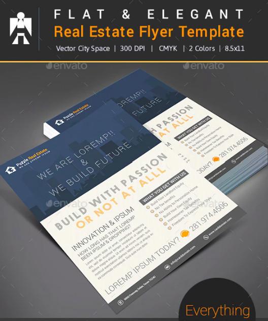 flat elegant real estate flyer template
