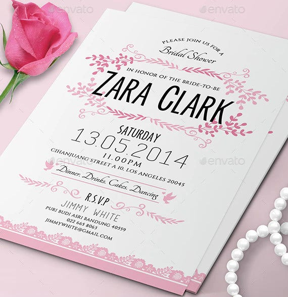 flower bridal shower invitation