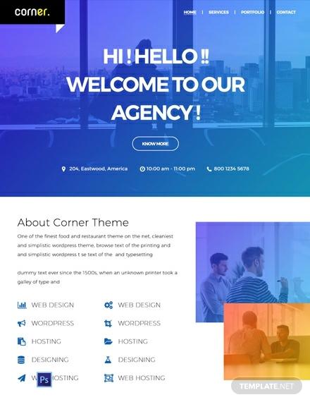 free corner theme website templat