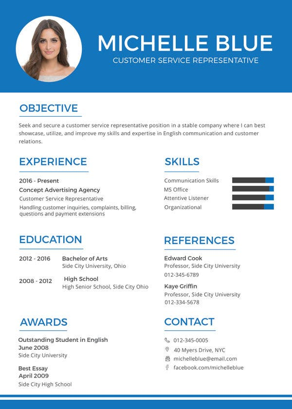 Customer Service Representative Resume 9 Free Sample Example