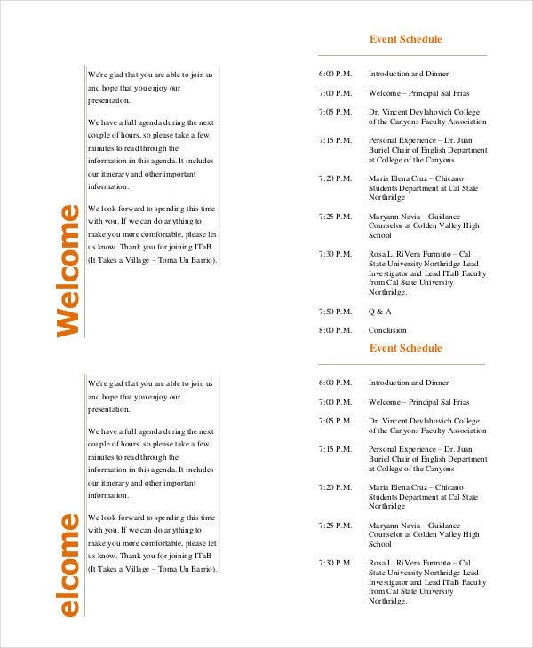 Event Program Template   Free Sample Example Format  Free