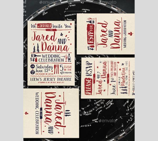 hand typography wedding invitation