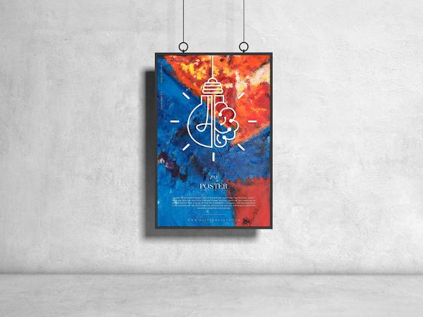 hanging psd poster mockup design
