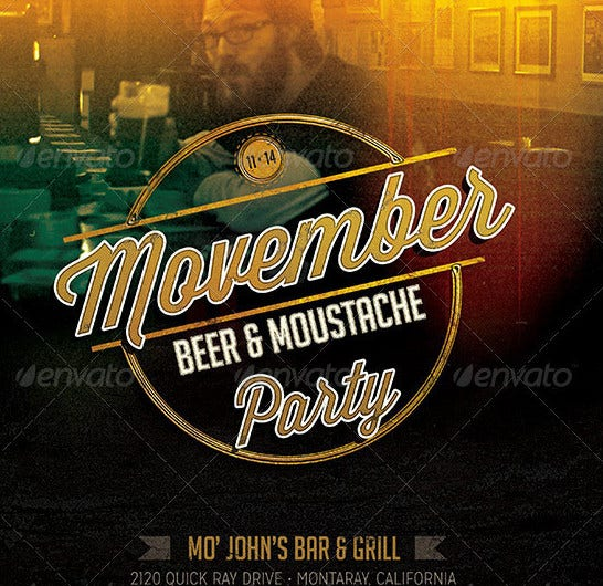 movember beer moustache party flyer template