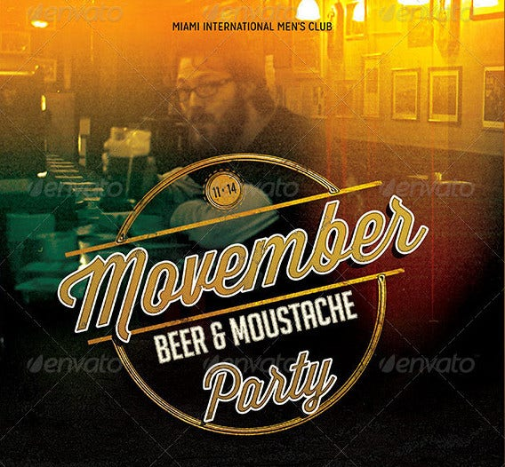 movember beer moustache party flyer template1
