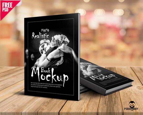 photorealistic book mockup free psd