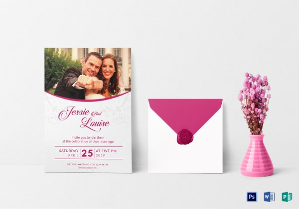pink wedding invitation card template