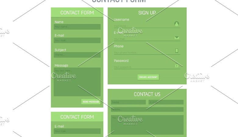 registration login contact form