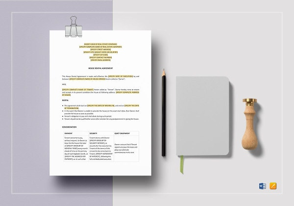 sample house rental agreement template