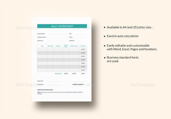 simple daily worksheet template