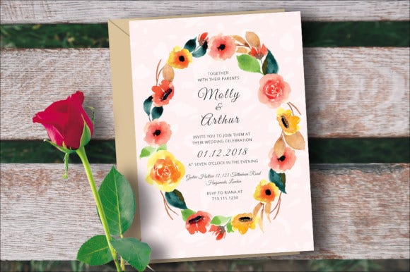 water color floral wedding invitation template