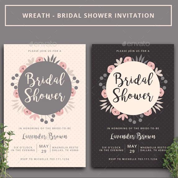 wreath bridal shower invitation