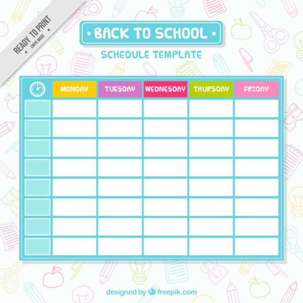 modern school schedule template