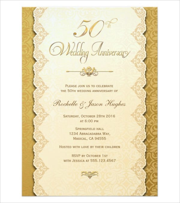 50th Anniversary Gold Invitation Card