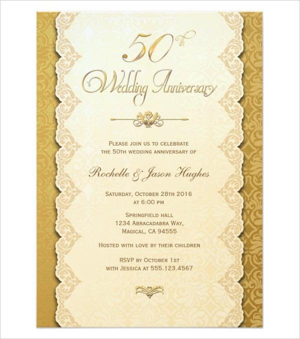 50th anniversary gold invitation card