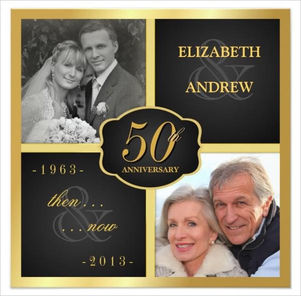 elegant 50th anniversary invitation card