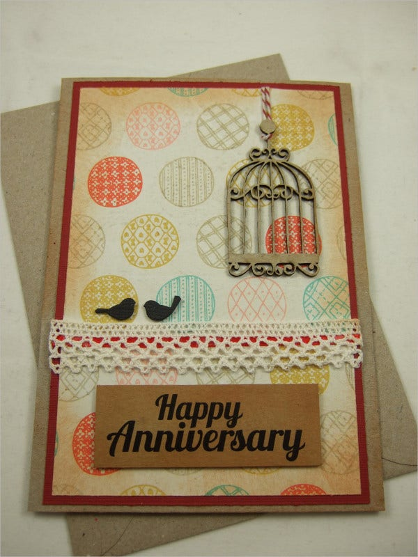 Love Birds Happy Anniversary Card
