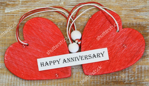 wooden heart happy anniversary card