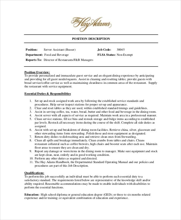 busser food runner description sle resume food
