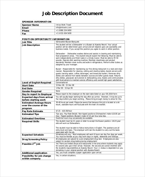 Dishwasher Busser Job Description In PDF