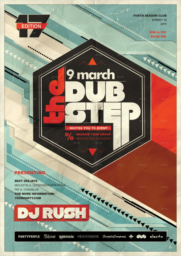 Retro Dubstep Party Poster