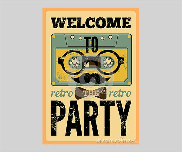 retro party poster design