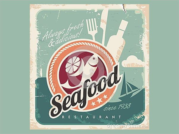 Vintage Poster for Seafood Restaurant