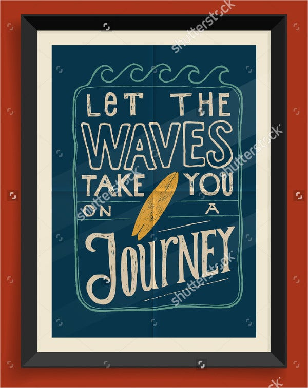 Vintage Surfing Quote Poster