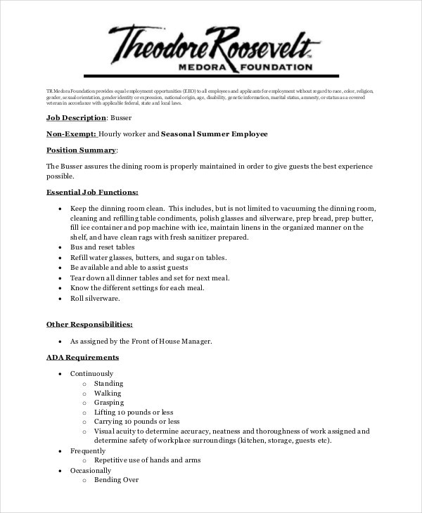 Busser resume sample restaurant busser job description for for Dining room manager job description