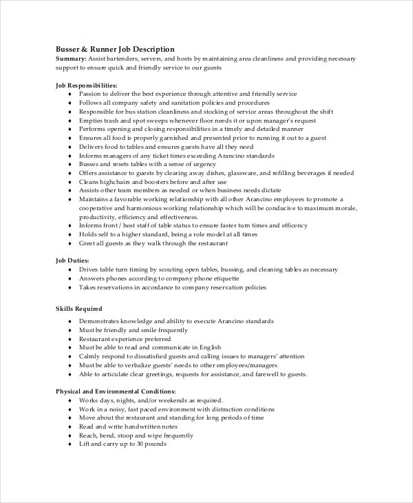 busser runner job description. Resume Example. Resume CV Cover Letter
