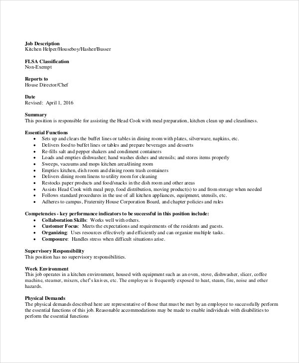 Busser Job Description Example 9 Free PDF Documents Download – Dishwasher Job Description